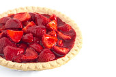 Fresh Strawberry Pie Isolated on a White Background