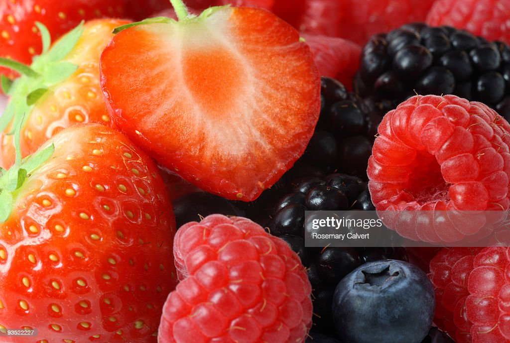 Fresh, tasty berries in close up.