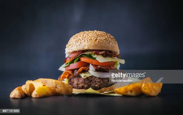 Sabrosa hamburguesa frescos