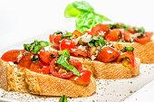 Fresh tomato basil bruschetta on toast