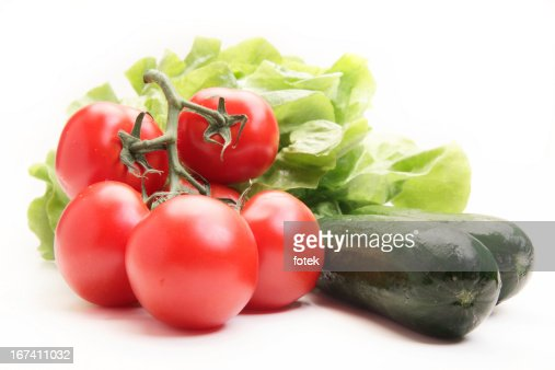 Fresh tomatoes, cucumber and lettuce : Stockfoto