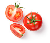 Fresh tomatoes on white background. Top view