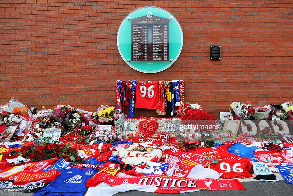 Fresh tributes adorn the Hillsborough Memorial outside the stadium prior to the UEFA Europa League semi final second leg match between Liverpool and Villarreal CF at Anfield on May 5, 2016 in Liverpool, England.