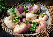 Fresh turnips in a basket