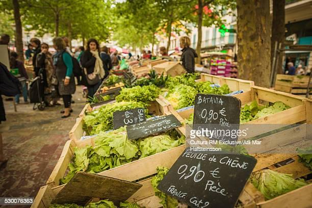 Fresh vegetable stalls on farmers market,  Carcassonne, Languedoc-Roussillon, France