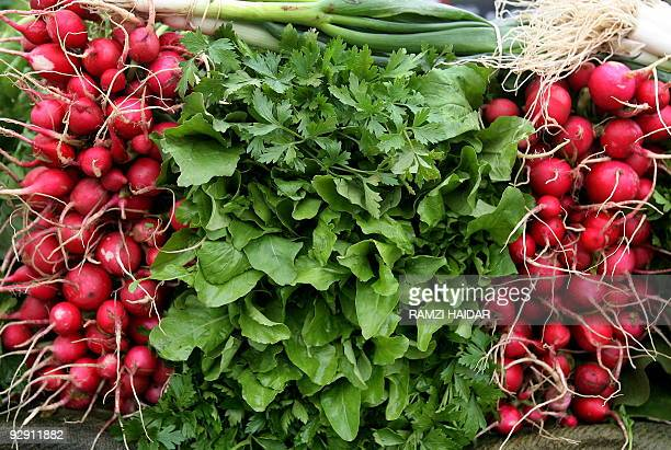 Fresh vegetables are displayed on a cart belonging to a street vendor in Beirut on November 9 2009 Lebanese officials urged the ministry of...