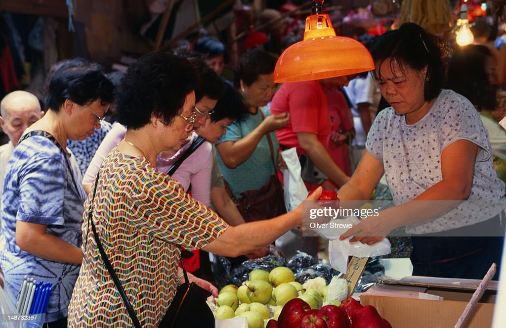 Fresh vegetables at the Graham Street market on Hong Kong Island : Stock Photo