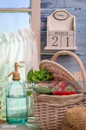 Fresh vegetables harvested in spring day : Stock Photo