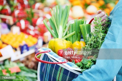 Fresh Vegetables In A Checked Shopping Bag Stock Photo | Getty Images
