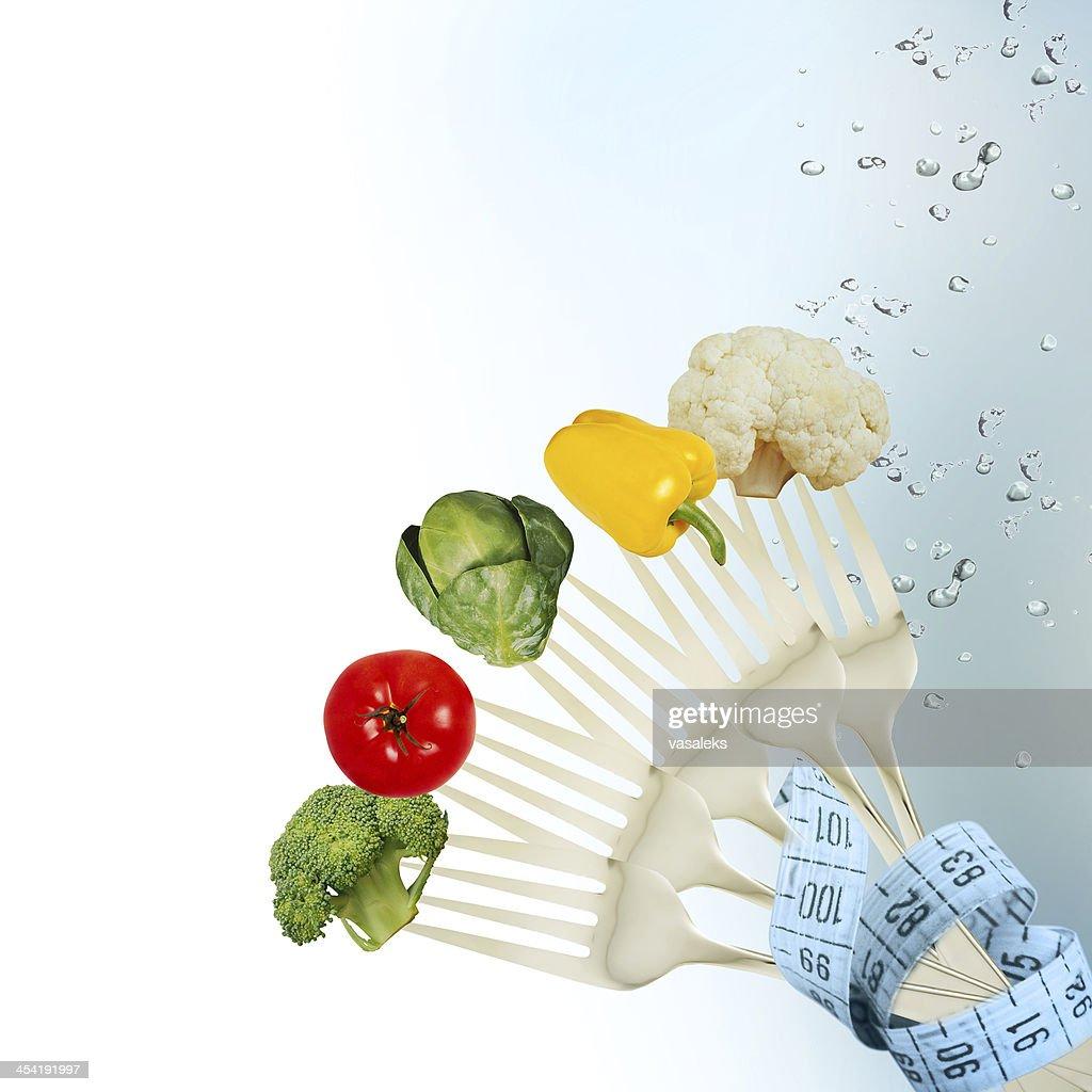 Verduras frescas en la bifurcación : Foto de stock