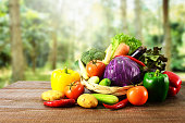 Vegetables on wooden and blur background.