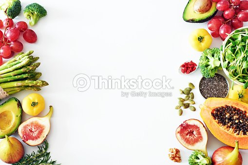 Fresh veggies and fruits food frame on white background with copy space. : Stock Photo