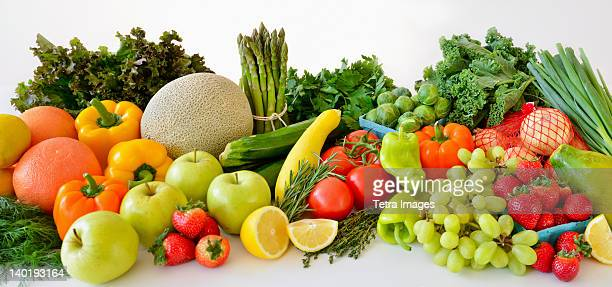 Fresh veggies and fruits, studio shot
