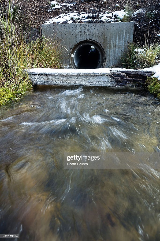 Fresh water runs through drains towards the lake on May 4, 2016 in Great Lake, Australia. Heavy snow and rain fall in the area has seen much needed water flow into the lake. Tasmania's dams are at record lows due to lower than average rainfall with storage levels of dams used to generate hydro power below 15 per cent for the first time.