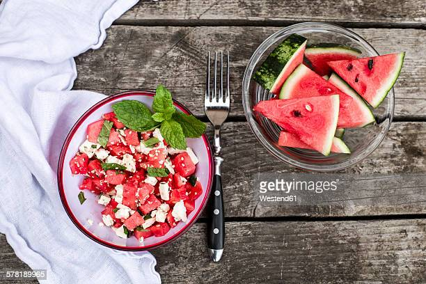 Fresh watermelon salad with feta cheese, mint and sesame