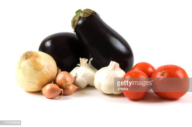 Fresh Whole Vegetable Arrangement Eggplant,tomatoes,onion,garlic,shallots