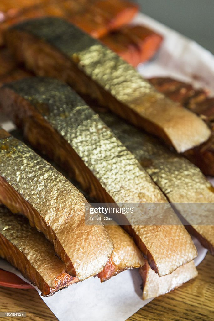 Fresh wild cured smoked sockeye salmon : Stock Photo