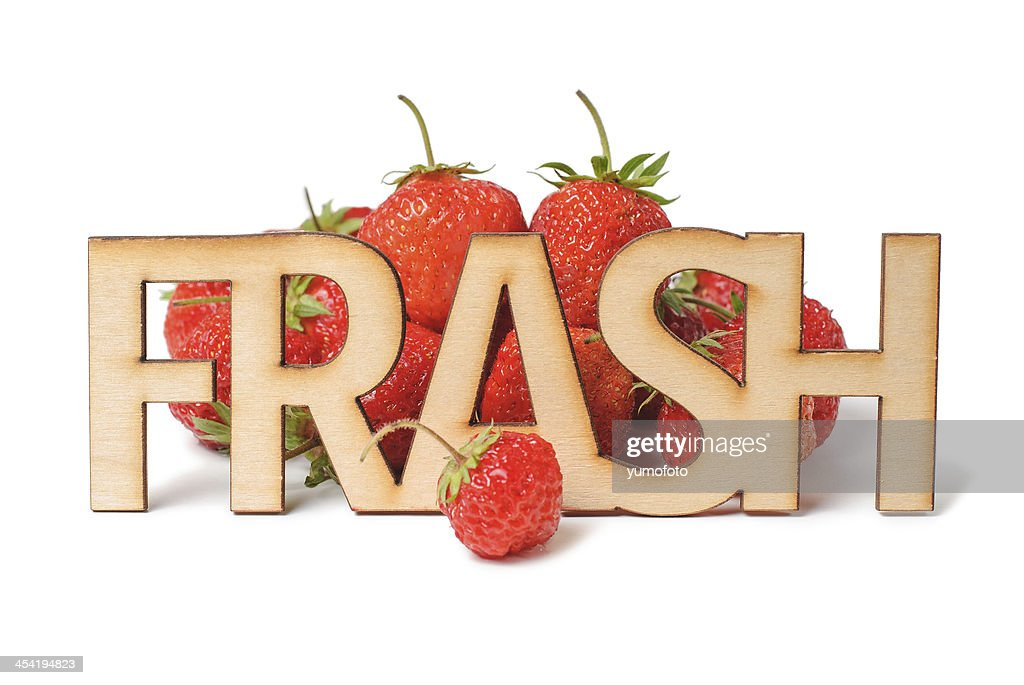 Fresh Wooden sign and strawberry : Stock Photo
