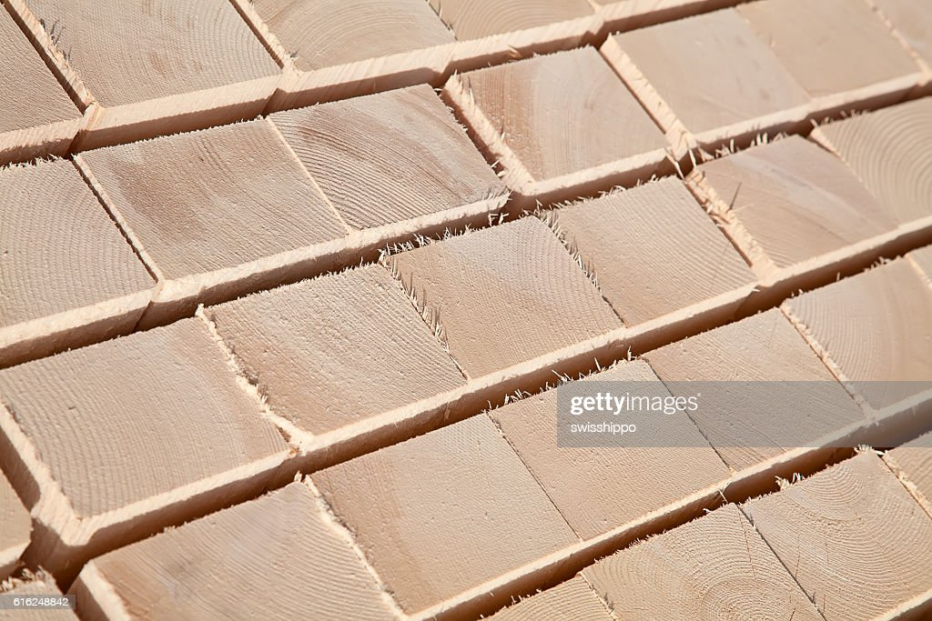 Fresh wooden studs : Stock Photo