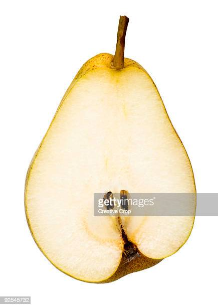 Fresh yellow pear cut in half