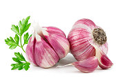 Fresh young garlic with parsley isolated on white background as package design element