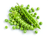 Fresh young green peas isolated on white background