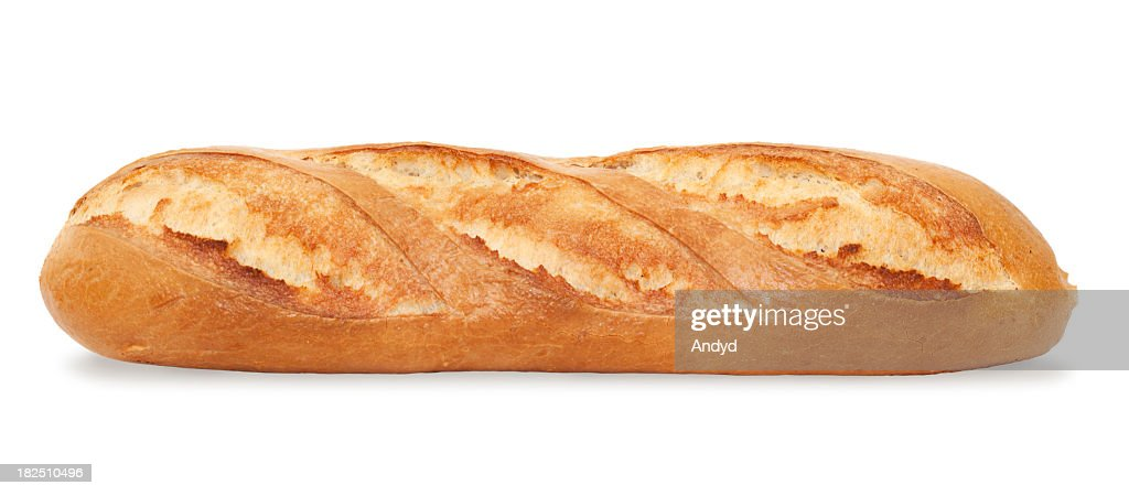 A fresh-baked baguette on a white background : Stock Photo