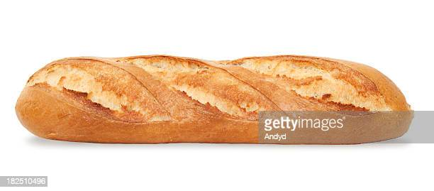 A fresh-baked baguette on a white background