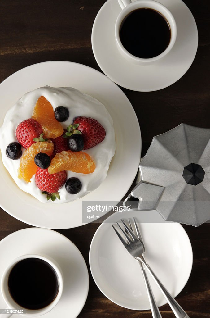 Fresh-fruits cake and coffees : Stock Photo