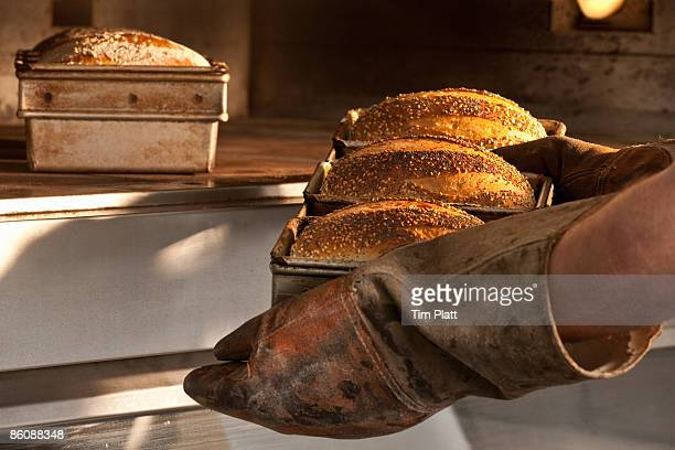 Freshly baked bread being taken out of the oven.