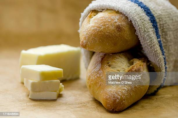 Freshly baked bread with butter