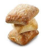 freshly baked ciabatta bread buns isolated on white background