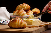 Freshly baked croissants and butter on the table