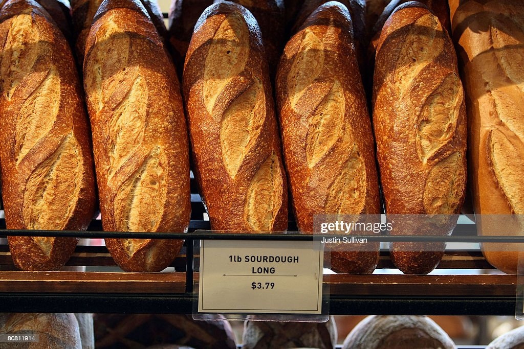 Freshly baked loaves of sourdough bread are displayed at Boudin Bakery April 21 2008 in San Francisco California Boudin the oldest continuously...