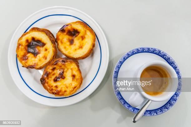 Freshly baked pasteis de nata (custard tarts) in Belem, Portugal, Lisbon