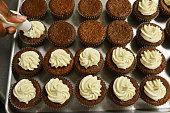 Freshly baked sweet potato cupcakes from Delectable Cakery in Landover Maryland on June 30 2015 Photos for a feature story about this blackowned...