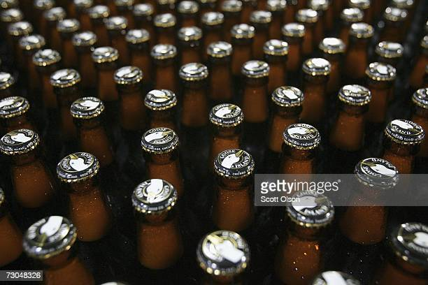 Freshly bottled beer rolls down a conveyor to be labeled and packaged at the Goose Island Brewery January 19 2007 in Chicago Illinois Goose Island is...