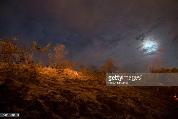 A freshly burned hill is seen under moonlight at the La Tuna Fire on September 2 2017 near Burbank California Los Angeles Mayor Eric Garcetti said at...
