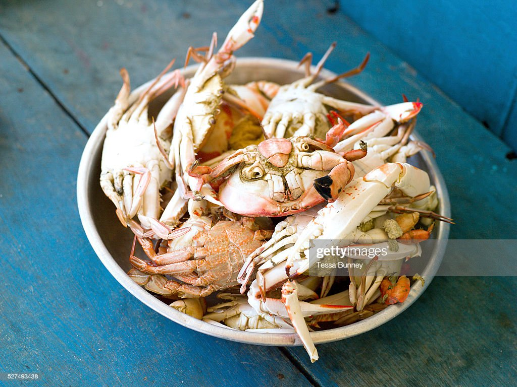 Freshly caught and cooked crabs for lunch in Tamiao Bantayan Island The Philippines On November 6 2013 Typhoon Haiyan hit the Philippines and was one...