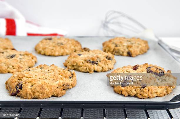 Freshly cooked fruit, oat and nut cookies