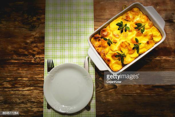 Freshly cooked Serbian moussaka meal in white casserole