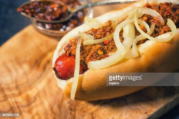 Freshly Grilled Chili Hot Dog