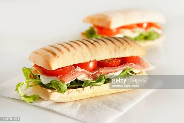 Freshly made panini sandwiches