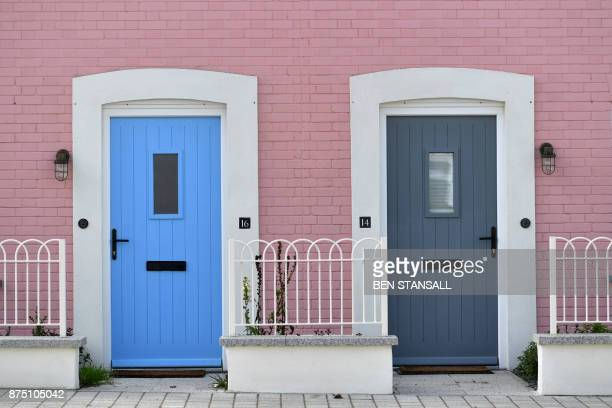 Freshly painted exteriors are pictured in Nansledan housing development championed by Britain's Prince Charles Prince of Wales at Newquay town in...