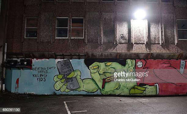 A freshly painted mural referencing the RHI crisis and Arlene Foster is pictured in a city centre car park on December 19 2016 in Belfast Northern...