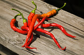 Freshly Picked Cayenne Peppers on Wooden Surface
