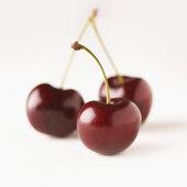 Freshly picked ripe cherries against white