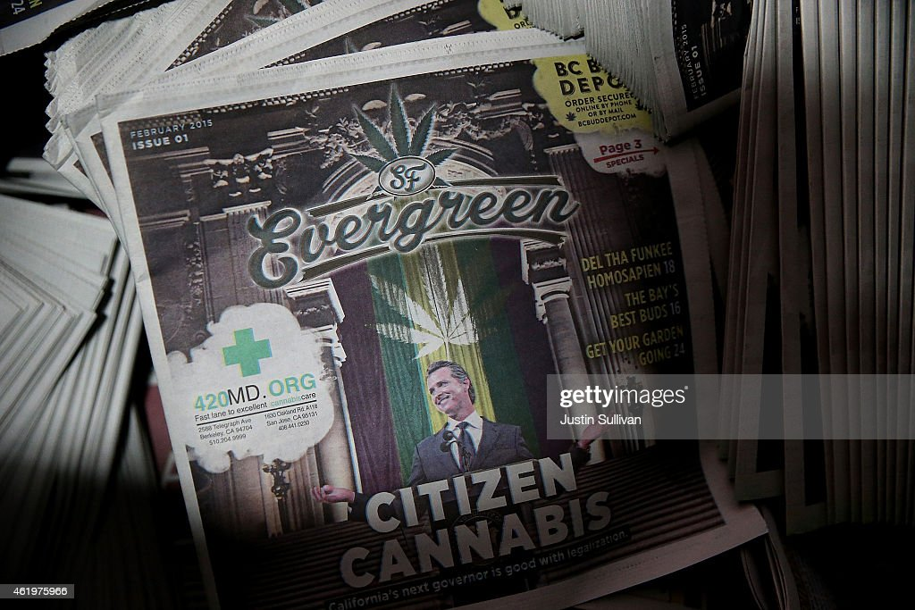 Freshly printed copies of the new SF Evergreen, the San Francisco Bay Area's first marijuana-themed monthly newspaper, sit in a bin at the San Francisco Newspaper Printing Company on January 22, 2015 in San Francisco, California. The San Francisco Media Company, the publisher of the San Francisco Examiner and The SF Weekly, is preapring to launch SF Evergreen, San Francisco's first monthly newspaper to cover the cannabis culture and industry. The free paper will be available on January 26.