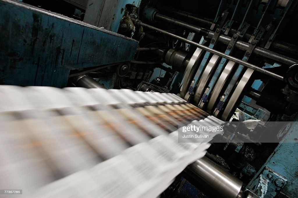 Freshly printed copies of the San Francisco Chronicle roll off the printing press at one of the Chronicle's printing facilities September 20, 2007 in San Francisco, California. Newspaper sales in the U.S. continue to slide as people turn to the internet and television for their news. The Chronicle saw its circulation plunge more than 15 percent in 2006 to 398,000 during the week which has hurt newspaper vendor Rick Gaub's business. Unable to sell as many papers as he used to, Gaub is looking for a new way to earn money after selling papers for 42 years.