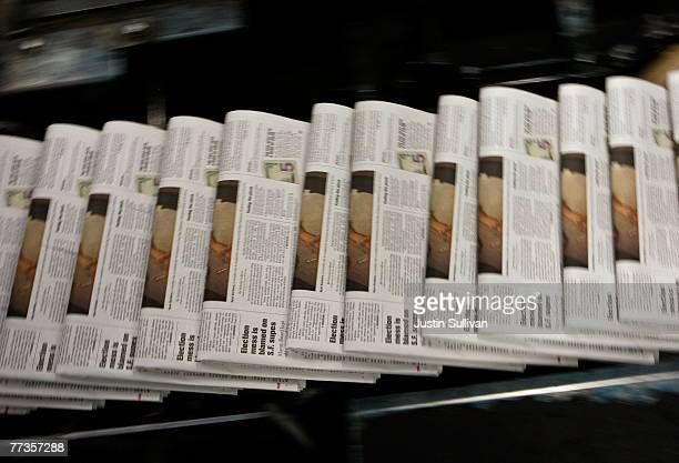 Freshly printed copies of the San Francisco Chronicle roll off the printing press at one of the Chronicle's printing facilities September 20 2007 in...